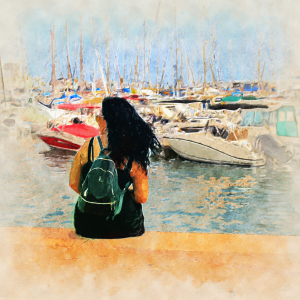 Woman at the port