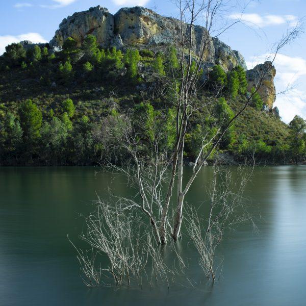 The calm blue lake
